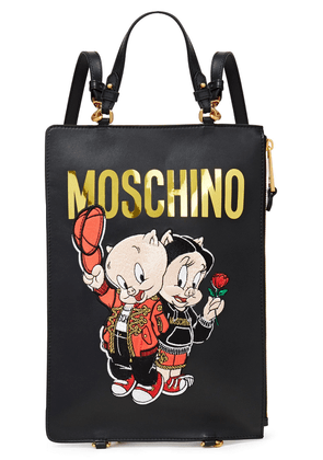 Moschino Embroidered Leather Backpack Woman Black Size --