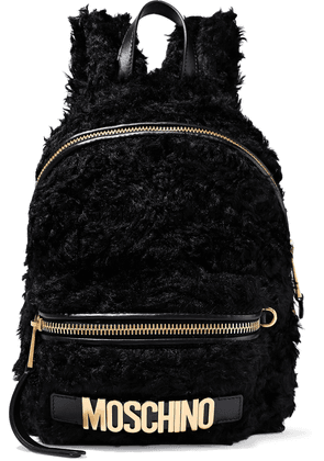 Moschino Leather-trimmed Faux Shearling Backpack Woman Black Size --