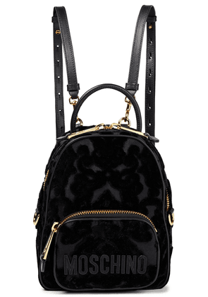 Moschino Leather-trimmed Flocked Canvas Backpack Woman Black Size --