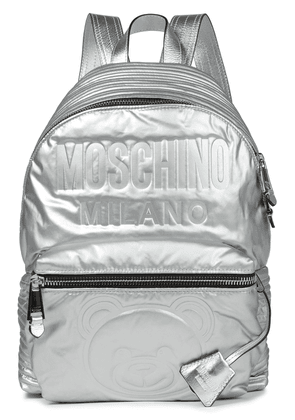 Moschino Embossed Metallic Shell Backpack Woman Silver Size --