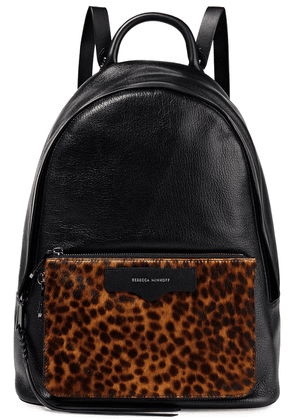Rebecca Minkoff Calf Hair-paneled Textured-leather Backpack Woman Black Size --