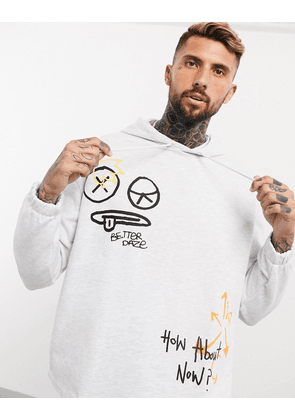 ASOS DESIGN co-ord oversized hoodie with multi placement scribble print-White