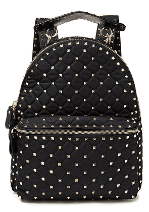 Valentino Garavani Rockstud Spike Leather-trimmed Quilted Shell Backpack Woman Black Size --