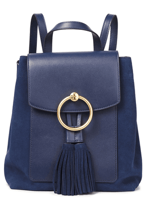Tory Burch Tasseled Suede And Leather Backpack Woman Navy Size --