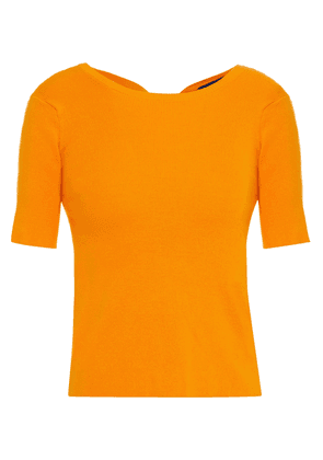 Simon Miller Knotted Cutout Ribbed Cotton-blend Top Woman Marigold Size XS