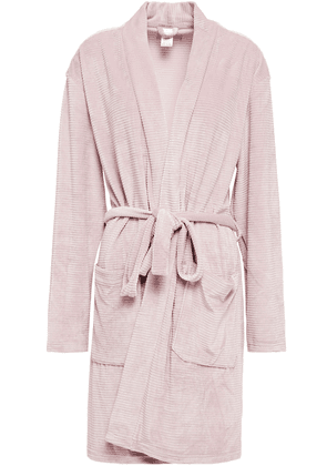 Calvin Klein Ribbed Stretch-velour Robe Woman Baby pink Size XS/S