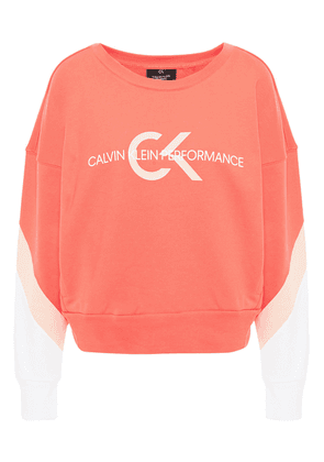 Calvin Klein Performance Color-block Printed French Cotton-terry Sweatshirt Woman Coral Size XS