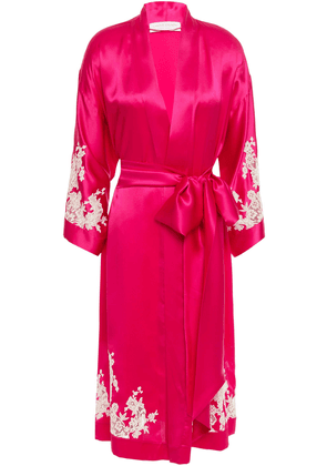 Carine Gilson Chantilly Lace-trimmed Silk-satin Robe Woman Magenta Size L