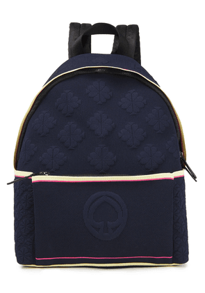 Kate Spade New York Leather-trimmed Jacquard-knit Backpack Woman Midnight blue Size --