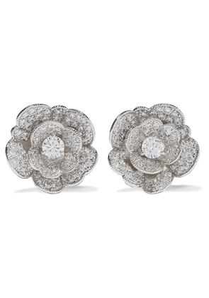 Cz By Kenneth Jay Lane Rhodium-plated Crystal Clip Earrings Woman Silver Size --