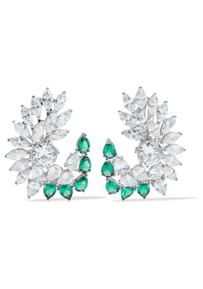 Cz By Kenneth Jay Lane Rhodium-plated Crystal Clip Earrings Woman Emerald Size --