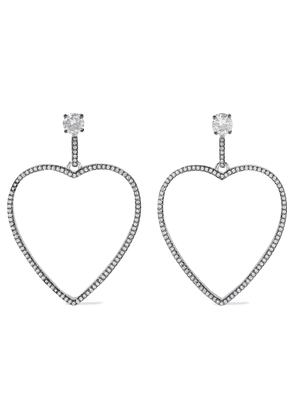 Cz By Kenneth Jay Lane Rhodium-plated Crystal Earrings Woman Silver Size --