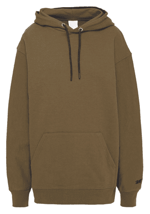 Reebok X Victoria Beckham Reebok X Victoria Beckham Embroidered French Cotton-terry Hoodie Woman Army green Size S