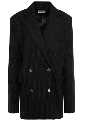 Loulou Studio Fica Double-breasted Pinstriped Wool-twill Blazer Woman Black Size S