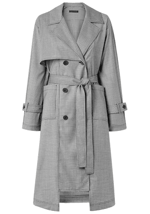 The R Collective + Wen Pan Dalston Belted Houndstooth Wool Trench Coat Woman Black Size S