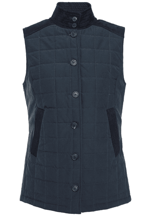 Purdey Stundland Faux Suede-trimmed Quilted Tweed Vest Woman Navy Size XS