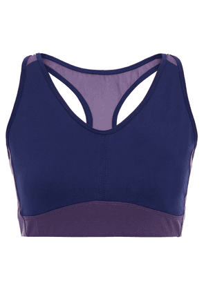 Ernest Leoty Perform Two-tone Mesh And Stretch Sports Bra Woman Navy Size L