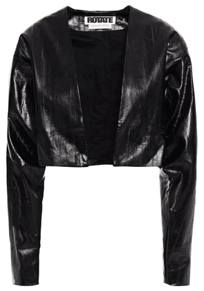 Rotate Birger Christensen Magrit Cropped Faux Leather Jacket Woman Black Size 32
