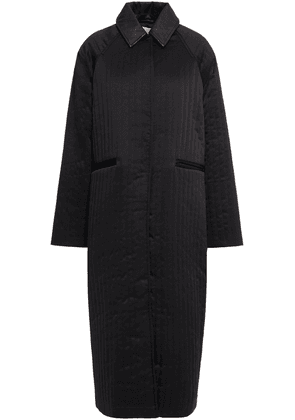 Remain Birger Christensen Kyoto Leather-trimmed Quilted Satin-crepe Coat Woman Black Size 36