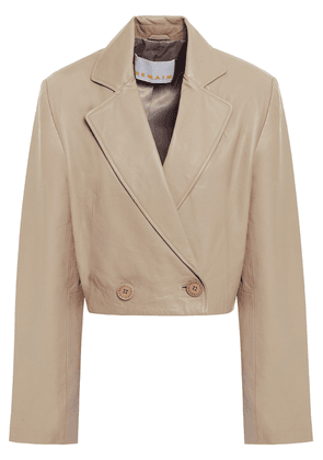 Remain Birger Christensen Debbie Double-breasted Cropped Leather Blazer Woman Stone Size 34