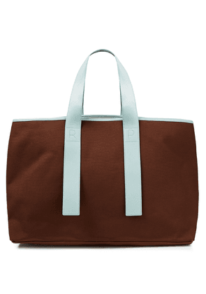 Rejina Pyo Faux Leather-trimmed Faille Tote Woman Chocolate Size --
