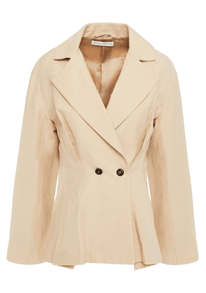 Palmer//harding Double-breasted Linen And Cotton-blend Peplum Blazer Woman Beige Size 8