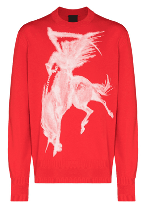 Givenchy Gothic print crew neck jumper - Red