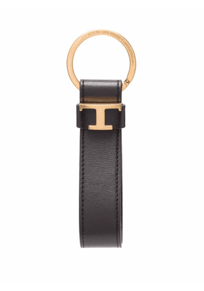 Tod's logo-plaque leather keyring - Brown