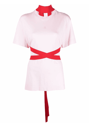 Givenchy tied-waist short-sleeve T-shirt - Pink