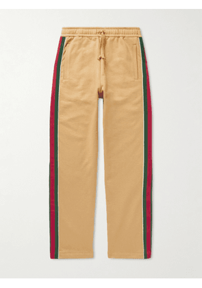 Gucci - Tapered Webbing-Trimmed Felted Cotton-Jersey Sweatpants - Men - Brown - M