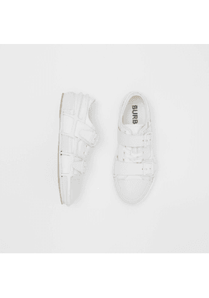Burberry Cotton and Leather Webb Sneakers, White