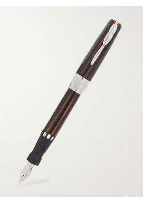 Pineider - Limited Edition Arco Resin and 14-Karat White Gold Fountain Pen - Men - Brown