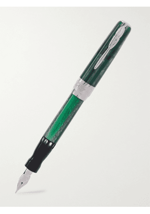Pineider - Limited Edition Arco Resin and 14-Karat White Gold Fountain Pen - Men - Green