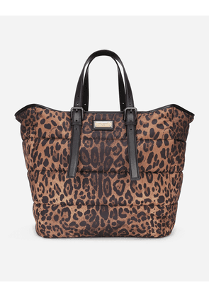 Dolce & Gabbana Totes - Leopard-print Sicily shopper in quilted nylon LEO PRINT male OneSize