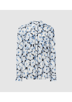 Reiss Lucie - Floral Print Shirt in Blue, Womens, Size 4