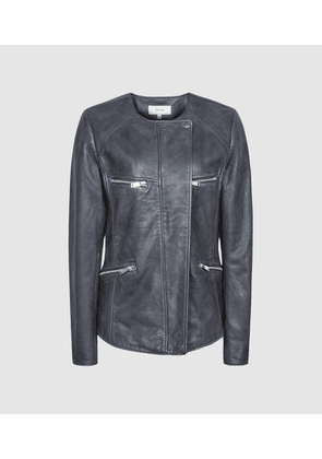 Reiss Indie - Leather Collarless Biker Jacket in Blue, Womens, Size 4