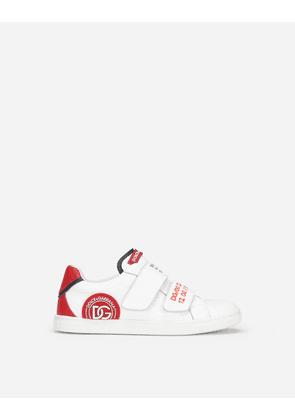 Dolce & Gabbana Collection - Calfskin sneakers with DG logo patch Multicolor male 26