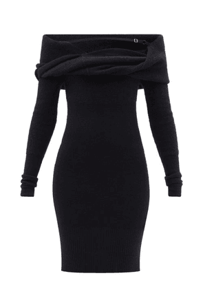 Jacquemus - Ascua Off-the-shoulder Ribbed-knit Dress - Womens - Black