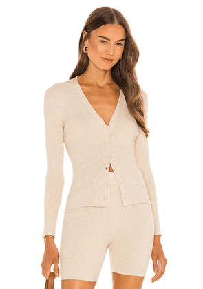 JoosTricot Ribbed Cardigan in Nude. Size M, S, XS.