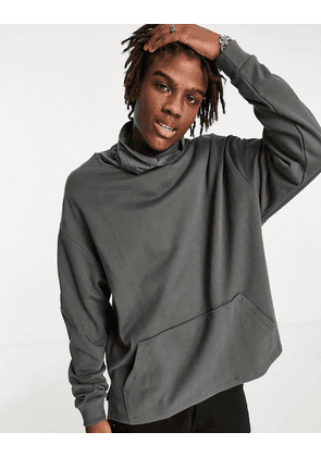 ASOS DESIGN oversized hoodie with funnel neck and wide sleeves in washed black