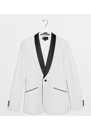 ASOS DESIGN Tall super skinny tuxedo suit jacket in white with black lapel