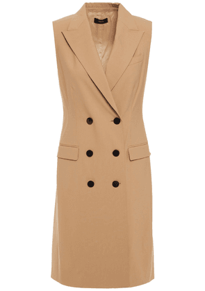 Theory Double-breasted Wool-blend Vest Woman Sand Size 6