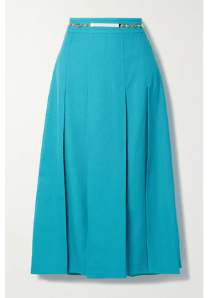 Gucci - Belted Pleated Woven Midi Skirt - Turquoise