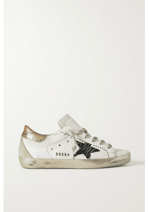 Golden Goose - Superstar Distressed Suede-trimmed Printed Leather Sneakers - White