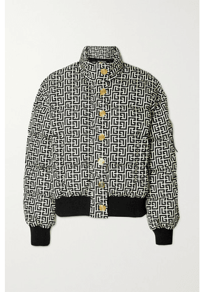 Balmain - Cropped Embellished Quilted Printed Shell Down Jacket - Black