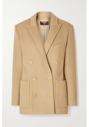 Balmain - Double-breasted Brushed Wool And Cashmere-blend Blazer - Camel