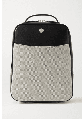 Paravel - Scooter Leather And Canvas Backpack - Black
