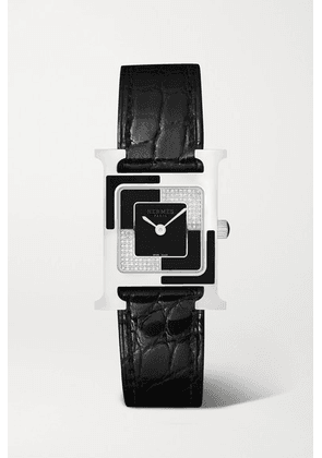 Hermès Timepieces - Heure H Au Carré 21mm Small Stainless Steel, Lacquer, Alligator And Diamond Watch - Black