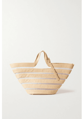 Cult Gaia - Laszlo Woven Cotton-blend, Mesh And Leather Tote - Tan