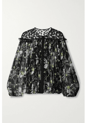 Jason Wu Collection - Embroidered Floral-print Tulle And Silk-crepon Blouse - Black